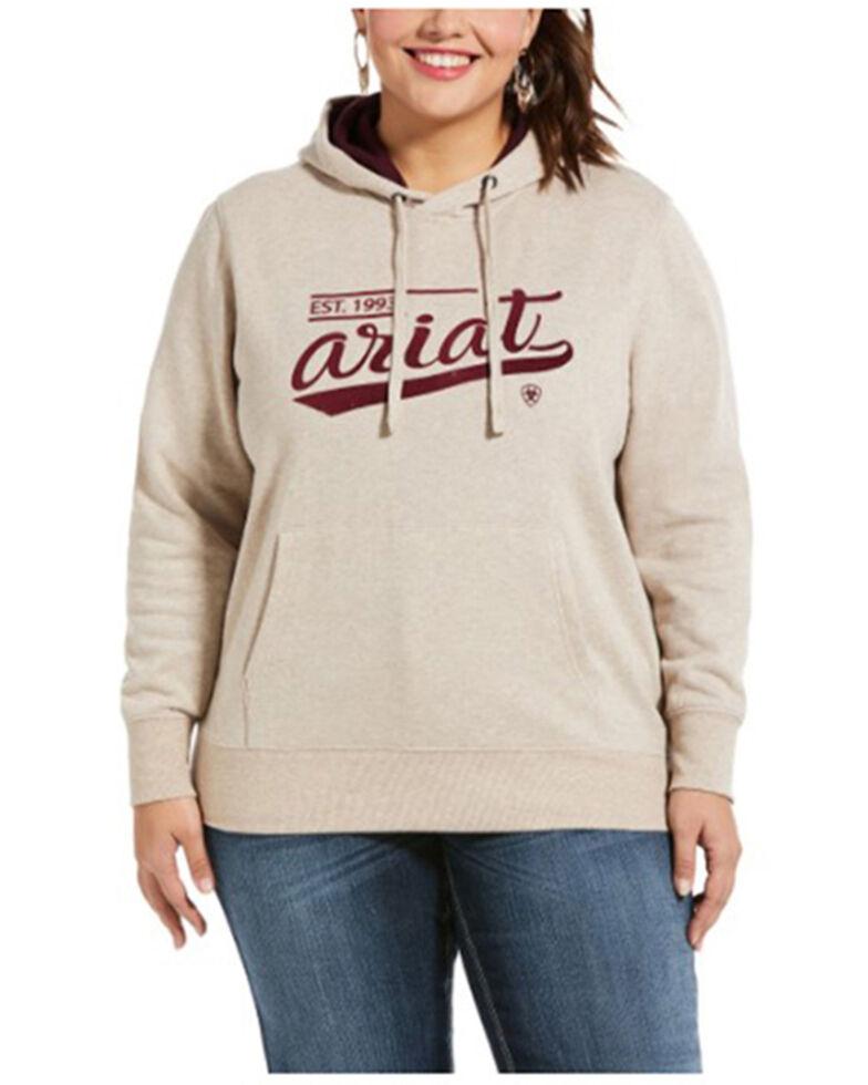 Ariat Women's Oatmeal R.E.A.L. Varsity Logo Sweatshirt - Plus, Oatmeal, hi-res