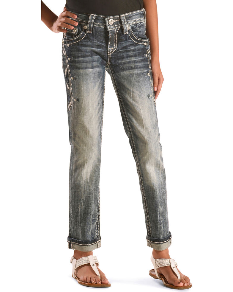 Miss Me Girls' Aztec Embroidered Jeans, Indigo, hi-res
