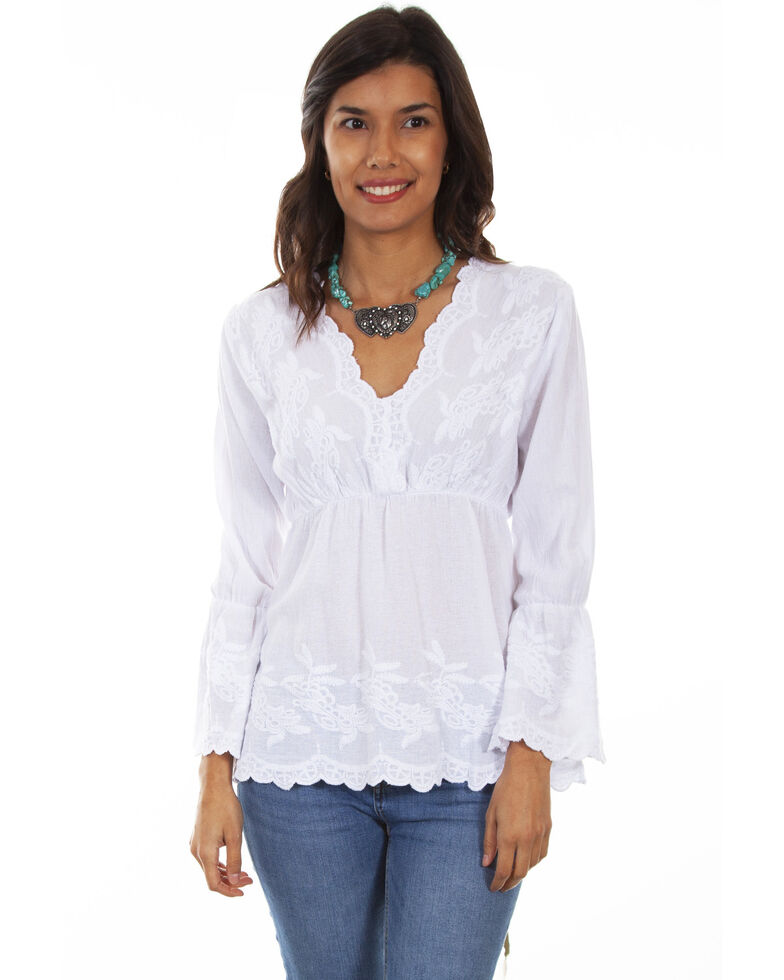 Cantina by Scully Women's White Plunge Long Sleeve Blouse, White, hi-res
