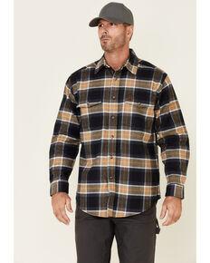 Wrangler Riggs Men's Navy & Tan Large Plaid Long Sleeve Button-Down Work Flannel Shirt - Big, Navy, hi-res
