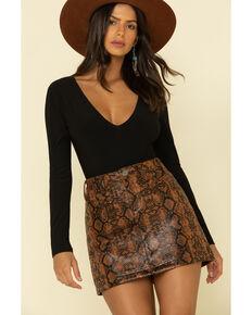 Rock & Roll Denim Women's Snake Print Mini Skirt, Brown, hi-res