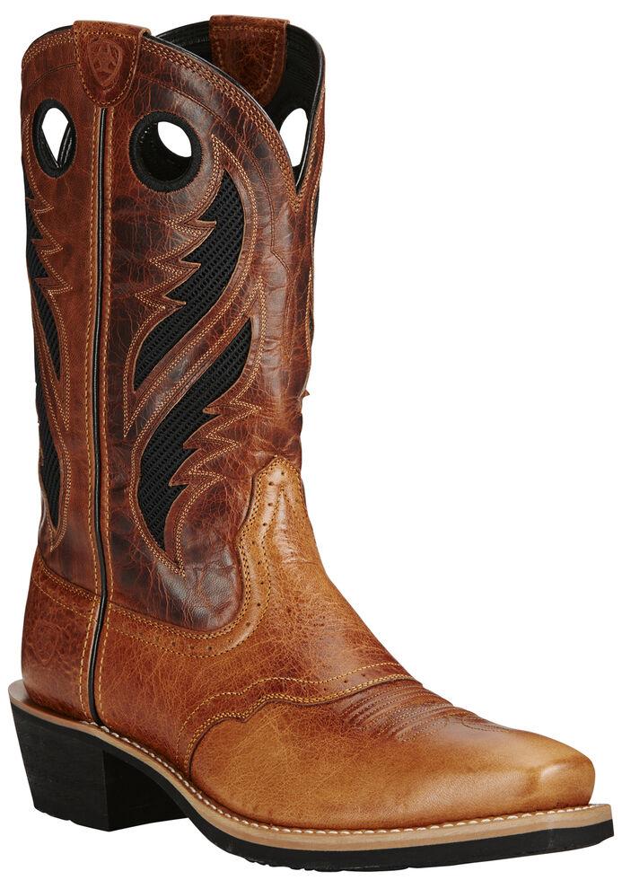 Ariat Men's VentTEK Heritage Roughstock Boots - Square Toe, Tan, hi-res