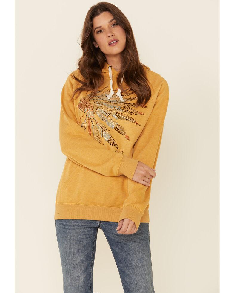 Cowgirl Tuff Women's Mustard Crystal Indian Headress Graphic Hooded Sweatshirt , Mustard, hi-res