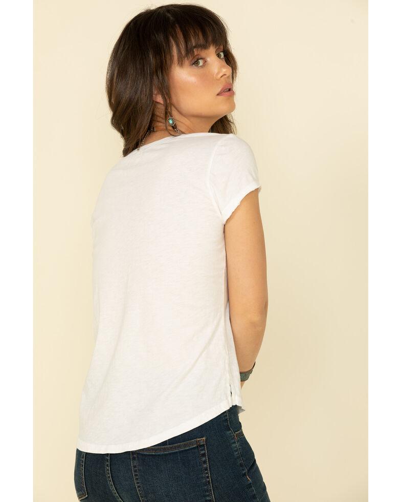 Shyanne Women's Denim Pocket V-Neck Short Sleeve T-Shirt  , White, hi-res