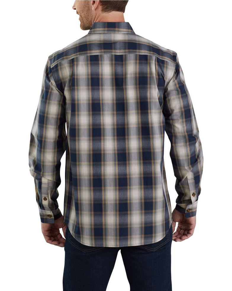 Carhartt Men's Essential Plaid Long Sleeve Work Shirt - Big , Navy, hi-res