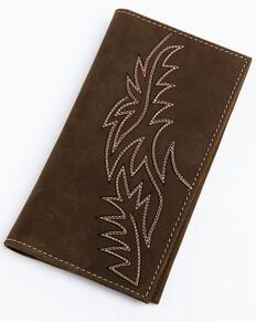Cody James Men's Brown Inlay Checkbook Wallet , Brown, hi-res