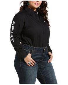 Ariat Women's Black Team Kirby Stretch Logo Long Sleeve Shirt - Plus, Black, hi-res