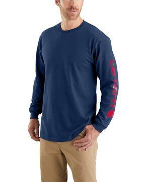 Carhartt Men's Workwear Graphic Logo Long Sleeve Work Shirt - Big , Dark Blue, hi-res
