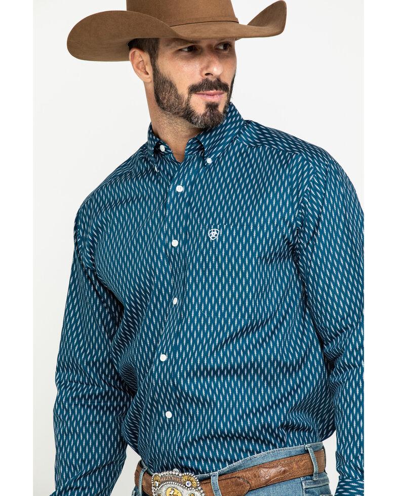 Ariat Men's Wrinkle Free Miramar Geo Print Long Sleeve Western Shirt , Navy, hi-res