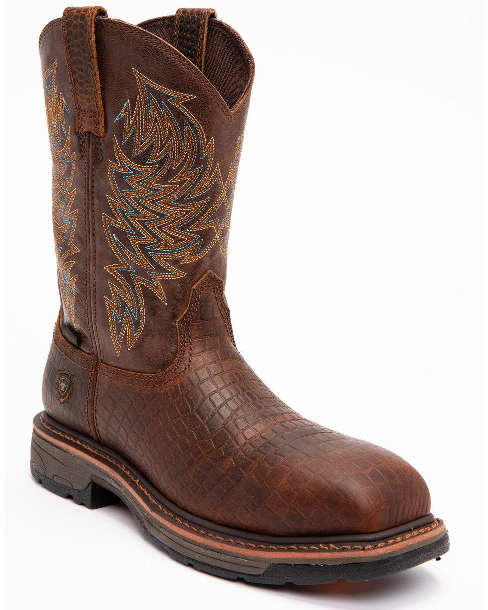 Ariat Brown Croc Print Workhog Waterproof Work Boots - Composite Toe , Brown, hi-res