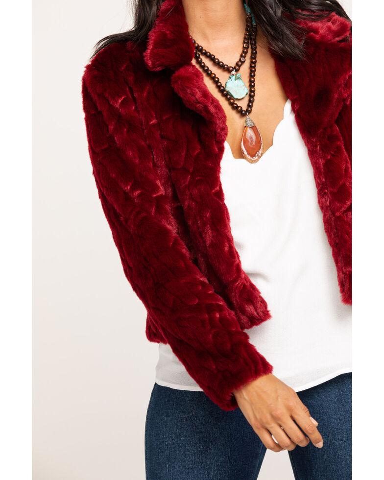 Black Swan Women's Burgundy Plush Perla Jacket , Burgundy, hi-res