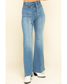 Flying Tomato Women's Denim Tie Front Flare Jeans , Blue, hi-res