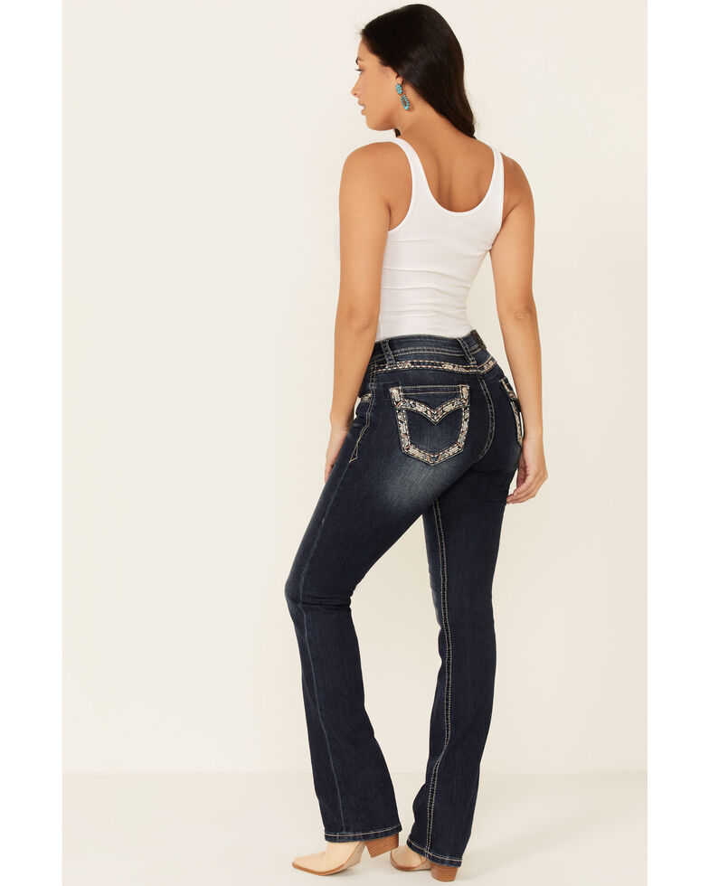 Grace in LA Women's Easy Embroidered Bootcut Jeans, Blue, hi-res