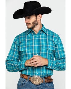 Wrangler Men's Wrinkle Resistant Multi Med Plaid Long Sleeve Western Shirt , Teal, hi-res