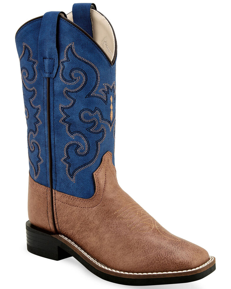 Old West Boys' Faux Leather Western Boots - Wide Square Toe, Tan, hi-res