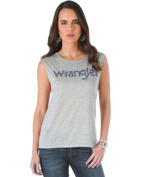 Wrangler Women's Striped Back Top with Wrangler Logo, Grey, hi-res