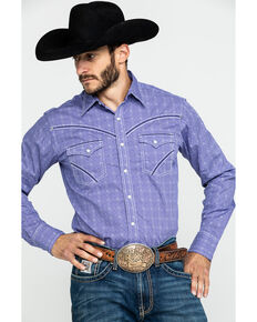 Rock 47 By Wrangler Purple Geo Print Long Sleeve Western Shirt , Purple, hi-res