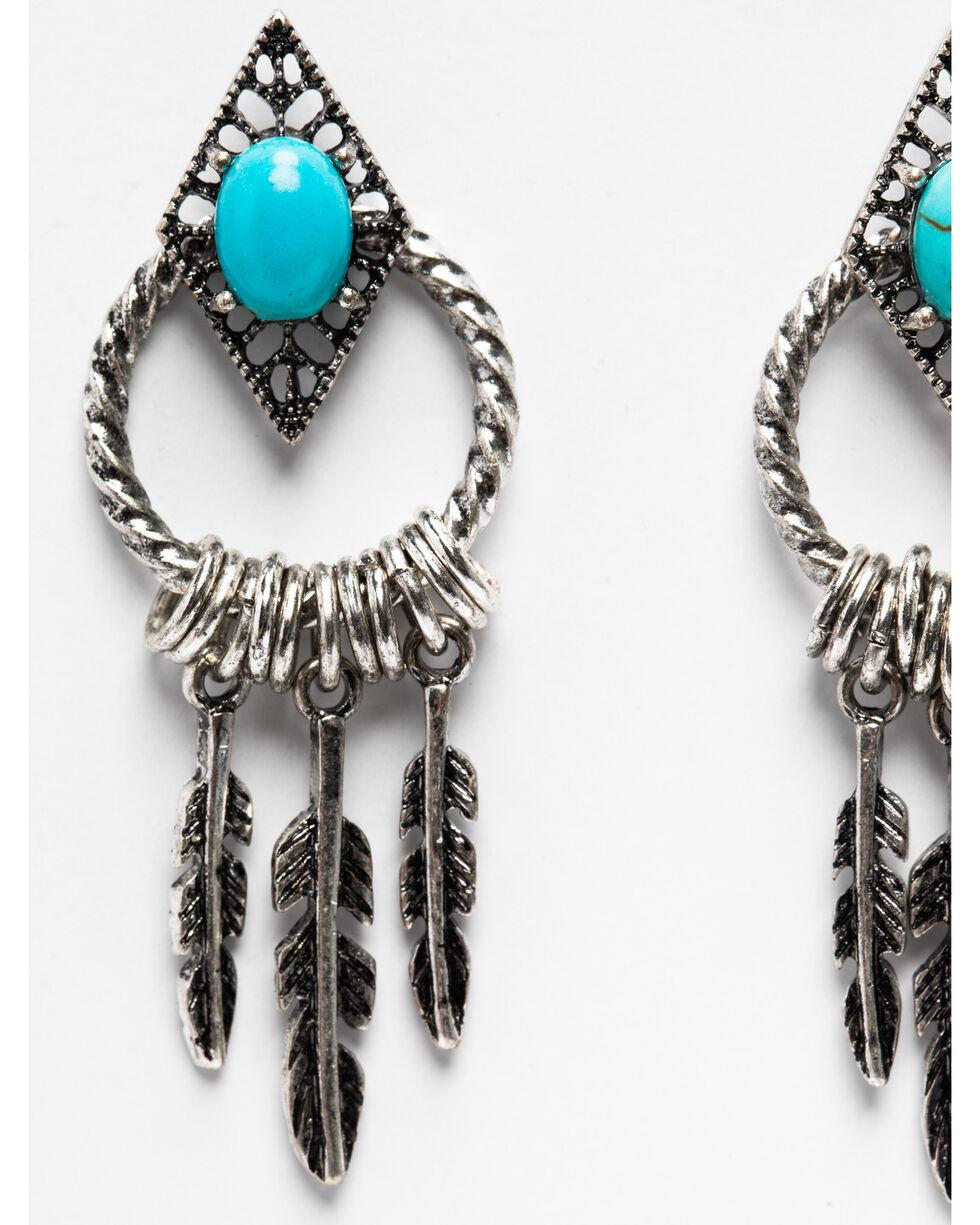 Shyanne Women's Summer Escape Mini Feather Hoop Earrings, Silver, hi-res