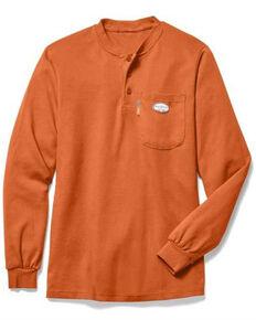 Rasco Men's Orange Pocket Henley Long Sleeve Work Shirt - Big, Orange, hi-res