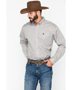 Cinch Men's Diamond Print Long Sleeve Button Down Shirt, Grey, hi-res