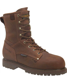 """Carolina Men's 8"""" Insulated WP Work Boots - Composite Toe, Brown, hi-res"""