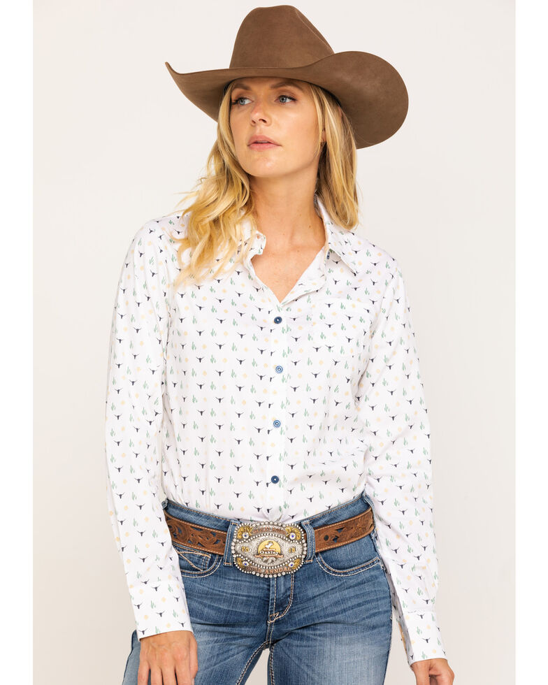 Ariat Women's Glory Kirby Stretch Long Sleeve Shirt, Ivory, hi-res