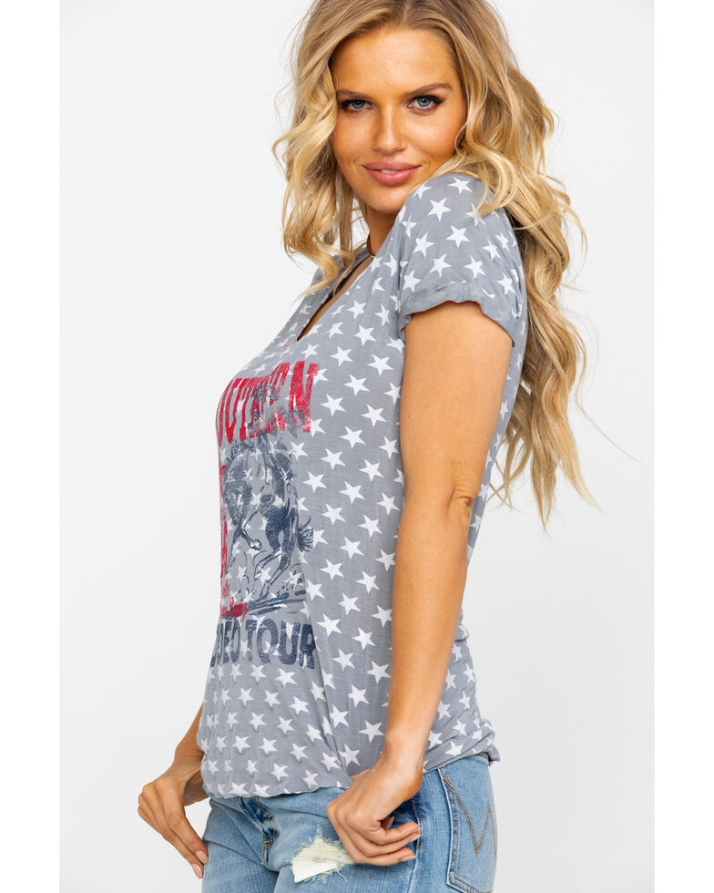 Rock & Roll Cowgirl Women's Grey Star Southern Rodeo Tour Graphic Tee, Grey, hi-res