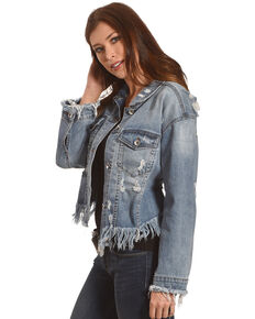 Tractr Blu Women's Cropped Frayed Hem Denim Jacket, Indigo, hi-res