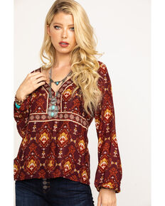 Idyllwind Women's On The Border Top, Burgundy, hi-res