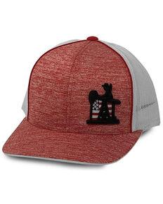 Oil Field Hats Men's Heather Red PJ Cowboy Flag Patch Mesh-Back Trucker Cap , Red, hi-res