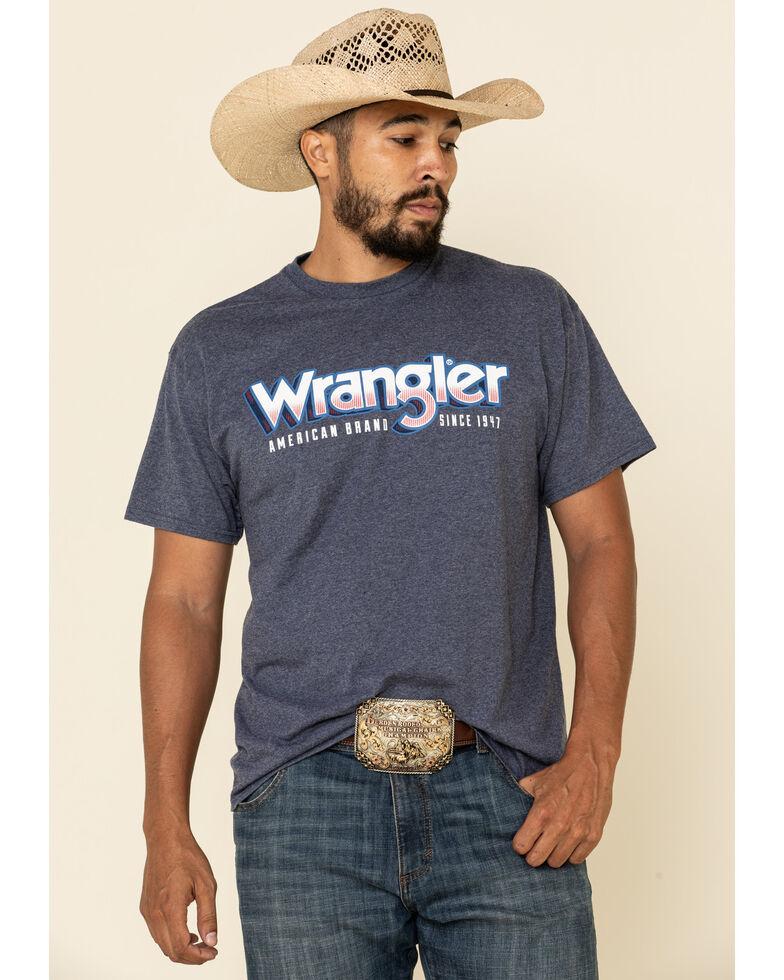 Wrangler Men's Blue Heather Logo Graphic Short Sleeve T-Shirt , Blue, hi-res