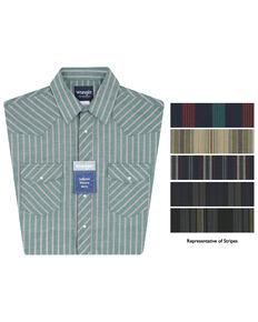 Wrangler Men's Assorted Plaid Short Sleeve Western Shirts, Stripe, hi-res