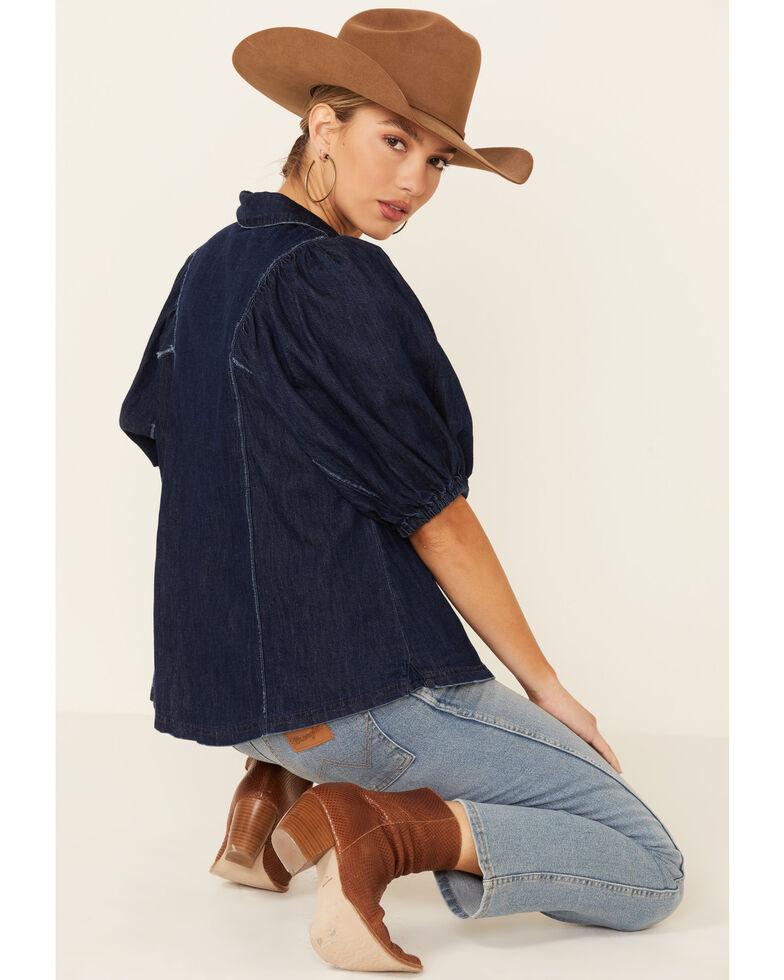 Free People Women's Blue Suhrie Denim Short Sleeve Top , Dark Blue, hi-res