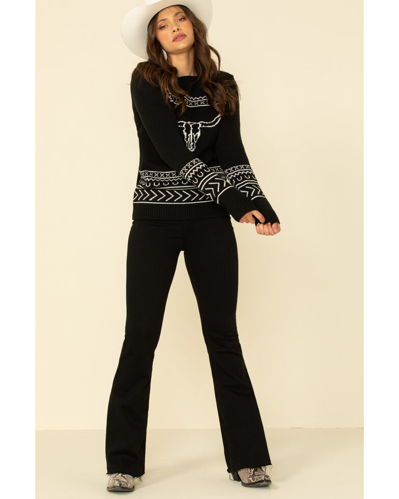 Cotton & Rye Outfitters Women's Black Steer Pullover Sweater , Black, hi-res