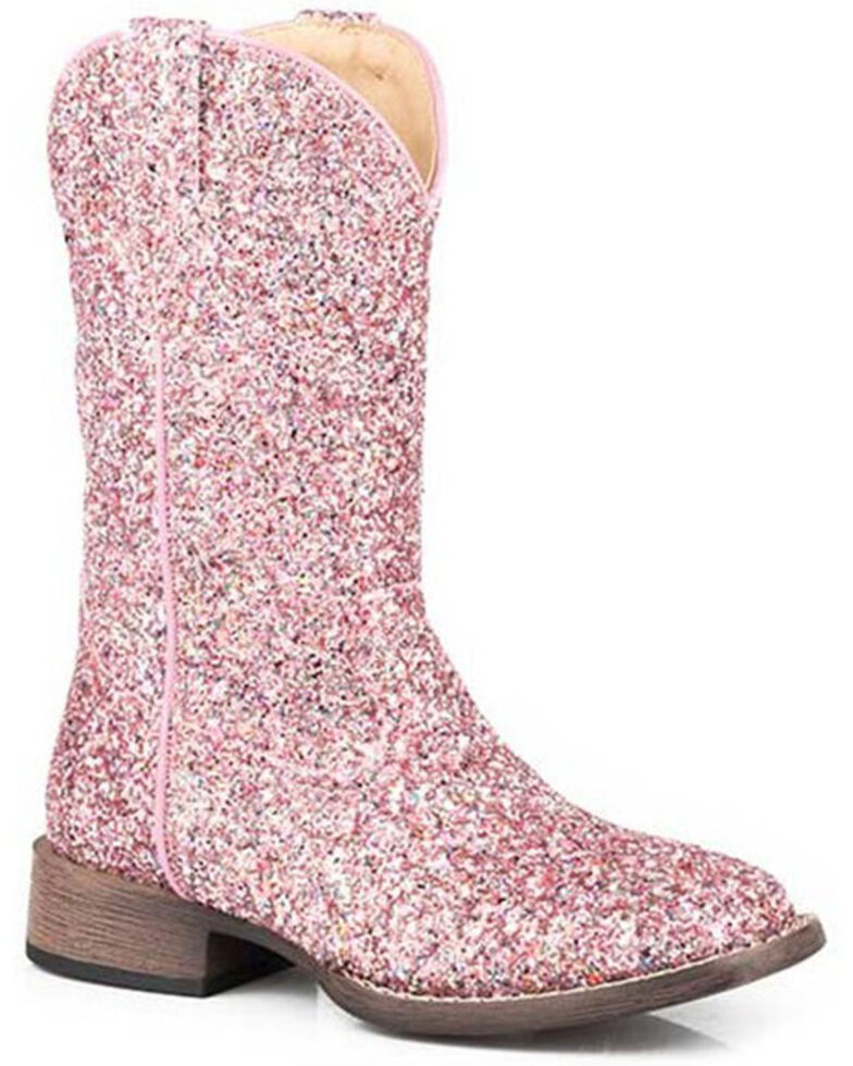 Roper Toddler Girls' Glitter Galore Western Boots - Square Toe, Pink, hi-res