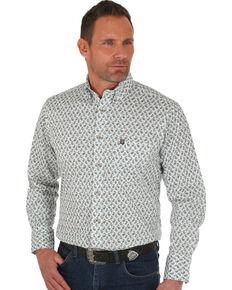 Wrangler Men's White Performance Paisley Print Long Sleeve Western Shirt , White, hi-res
