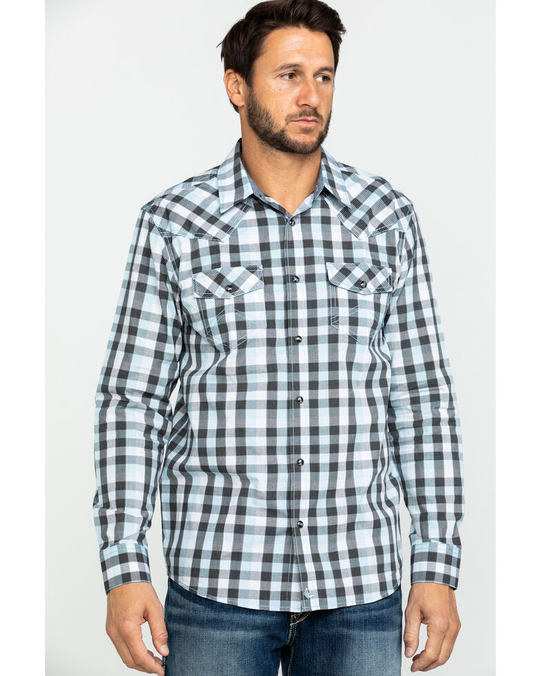 Cody James Men's Elsworth Small Plaid Long Sleeve Western Shirt , White, hi-res