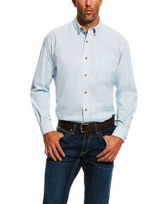 Ariat Men's Marloes Stretch Performance Small Plaid Long Sleeve Western Shirt , White, hi-res