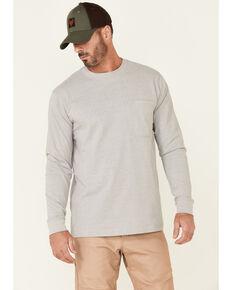 Hawx Men's Solid Light Grey Forge Long Sleeve Work Pocket T-Shirt - Tall, Light Grey, hi-res