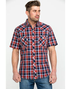 Wrangler Retro Men's Premium Multi Plaid Short Sleeve Western Shirt , Navy, hi-res