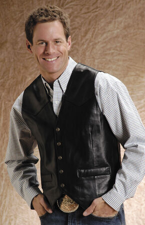 Roper Lamb Leather Black Vest - Big & Tall, Black, hi-res