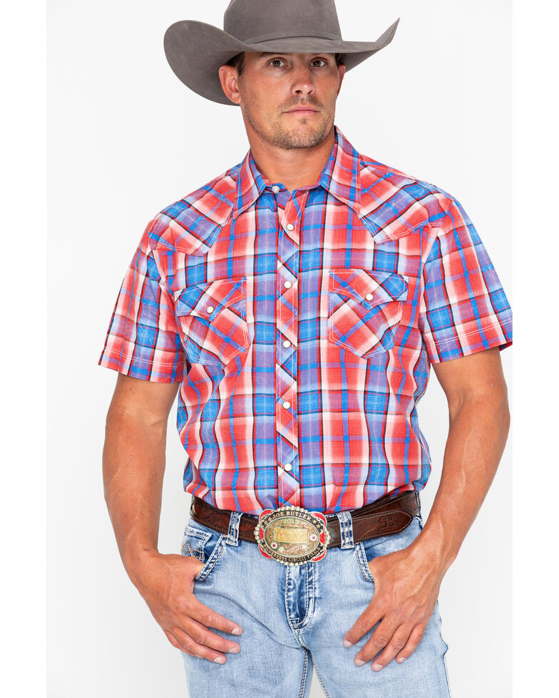 Rock & Roll Cowboy Men's Crinkle Poplin Plaid Short Sleeve Western Shirt , Red, hi-res