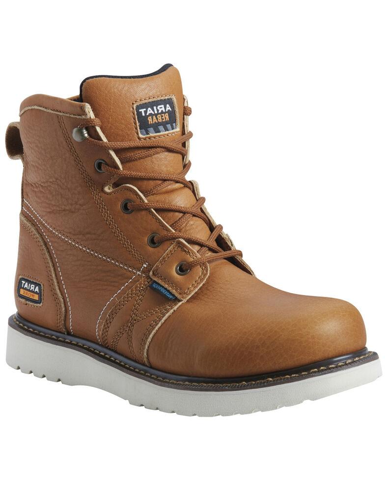 Ariat Men's Rebar Wedge Waterproof Work Boots - Soft Toe, Tan, hi-res