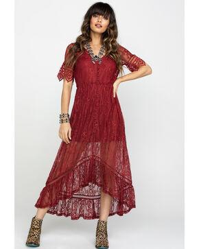 Shyanne Women's Allover Lace Button Front Maxi Dress, Rust Copper, hi-res