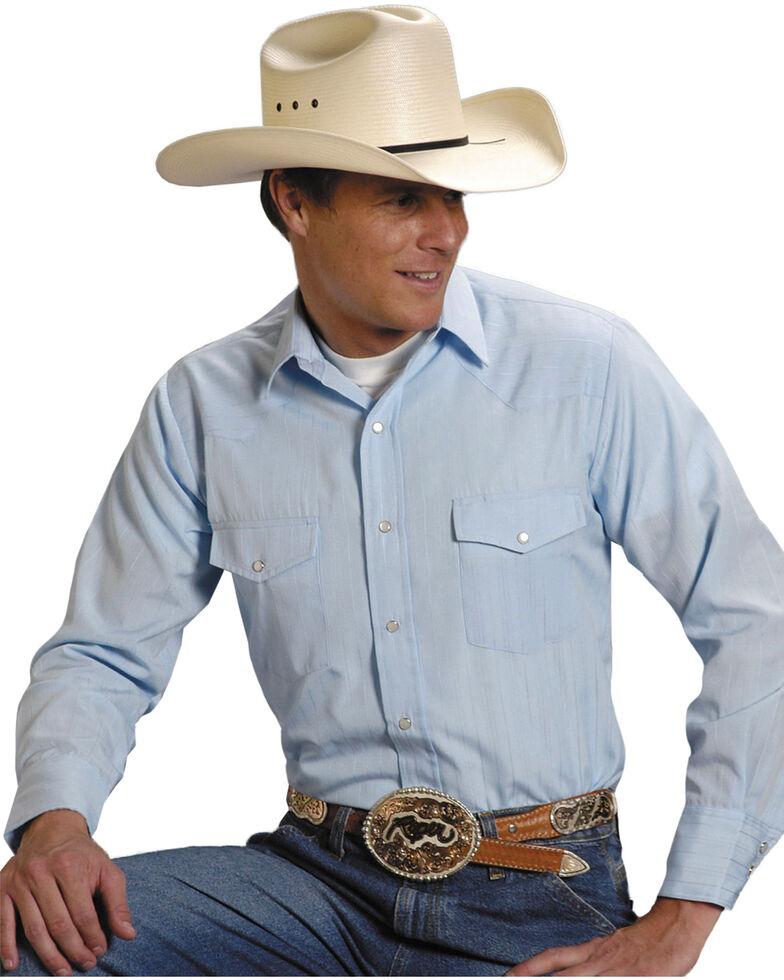 Roper Men's Tone On Tone Long Sleeve Western Shirt, Blue, hi-res