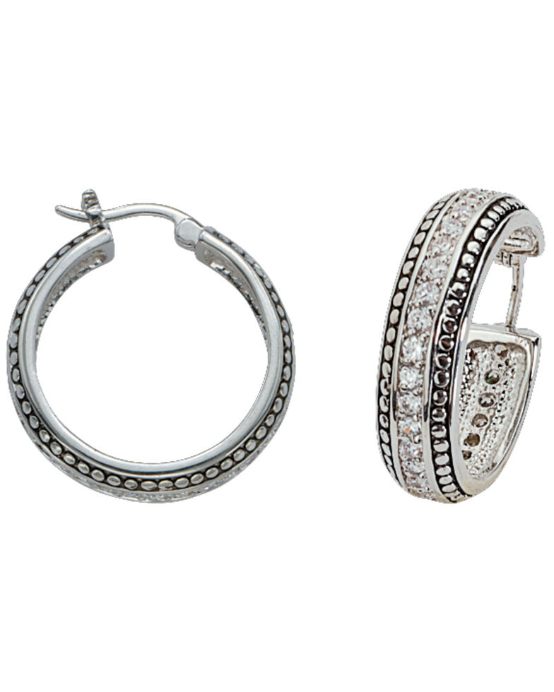 Montana Silversmiths Small Bling Hoop Earrings, Silver, hi-res