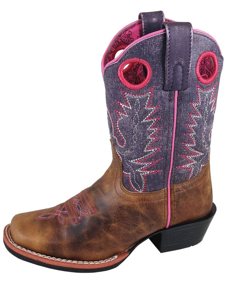 Smoky Mountain Youth Girls' Ellie Western Boots - Square Toe, Brown, hi-res