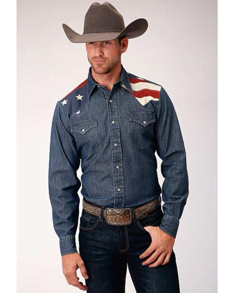 Roper Men's Old West Collection Denim Stars & Stripes Long Sleeve Western Shirt , Blue, hi-res