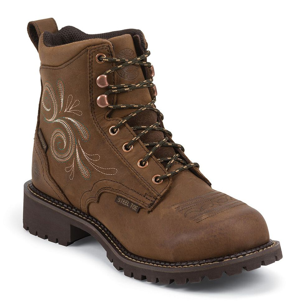 """Justin Gypsy Women's 6"""" Katrina EH Waterproof Lace-Up Work Boots - Steel Toe, Aged Bark, hi-res"""