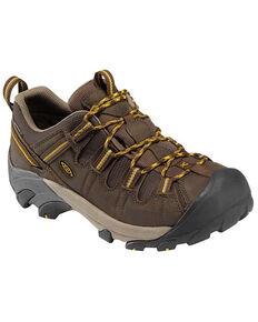 Keen Men's Cascade Brown & Yellow Targhee II Waterproof Lace-Up Wide Hiking Boot, Brown, hi-res